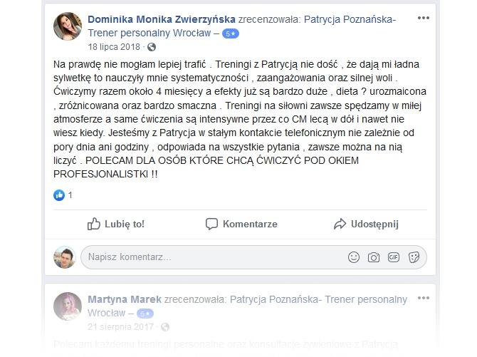 Opinie na Facebook